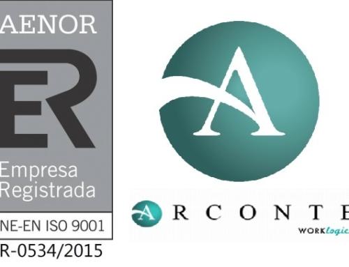 Arconte renueva el certificado ISO:9001/2015
